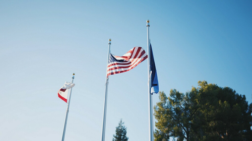 American Flag now aloft and finally visible at new entrance to Merced College campus